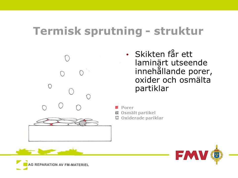 Termisk sprutning - struktur • Skikten får ett laminärt utseende innehållande porer, oxider och osmälta partiklar Porer Osmält partikel Oxiderade pariklar