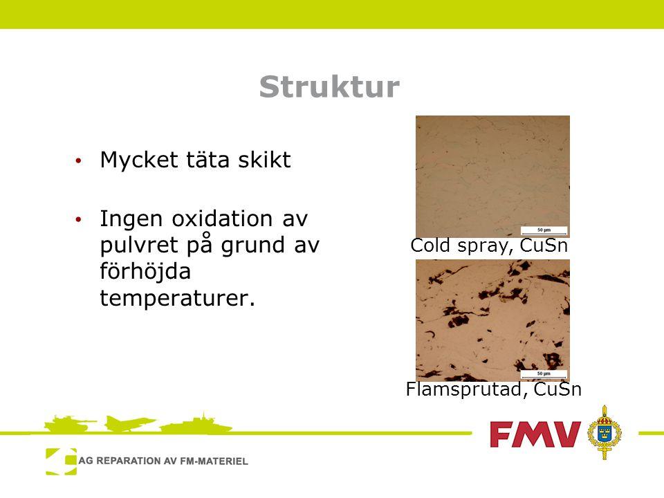Sammanfattning • Ny metod inom termisk sprutning som använder rörelseenergi för att plastiskt deformera pulver och på så vis bygga upp ett skikt • Mycket täta skikt homogena skikt • Inga förhöjda temperaturer, så oxidation undviks samt värmekänsliga material kan beläggas