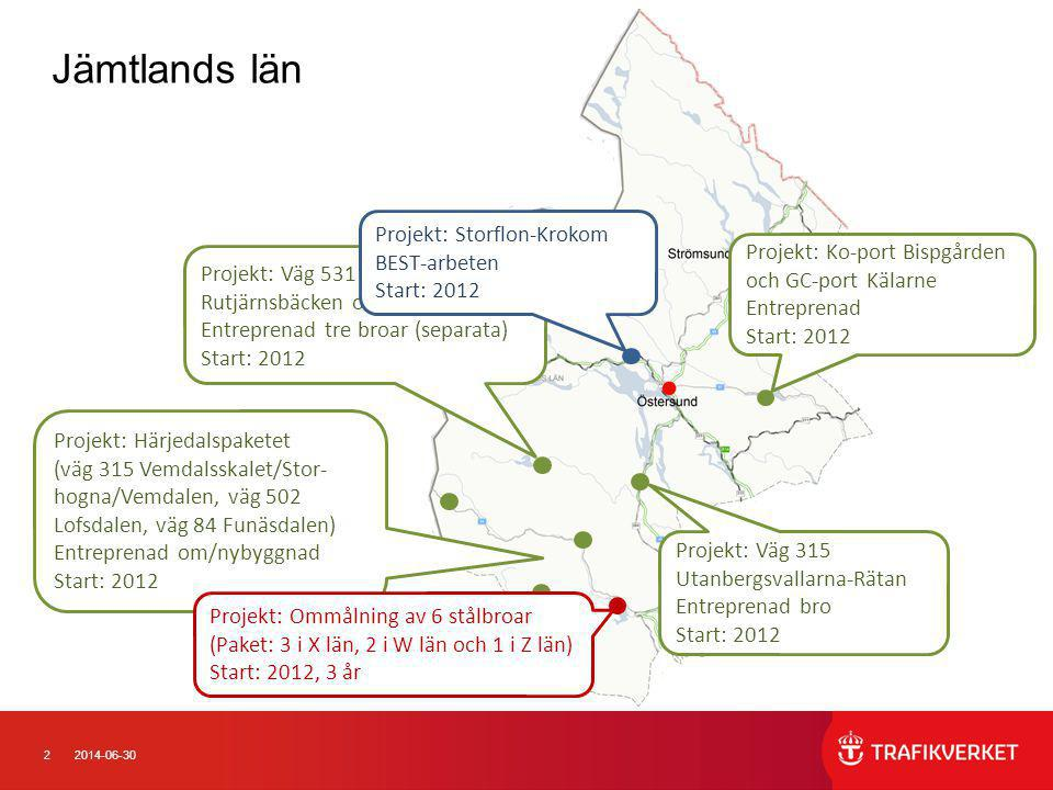 22014-06-30 Jämtlands län Projekt: Härjedalspaketet (väg 315 Vemdalsskalet/Stor- hogna/Vemdalen, väg 502 Lofsdalen, väg 84 Funäsdalen) Entreprenad om/