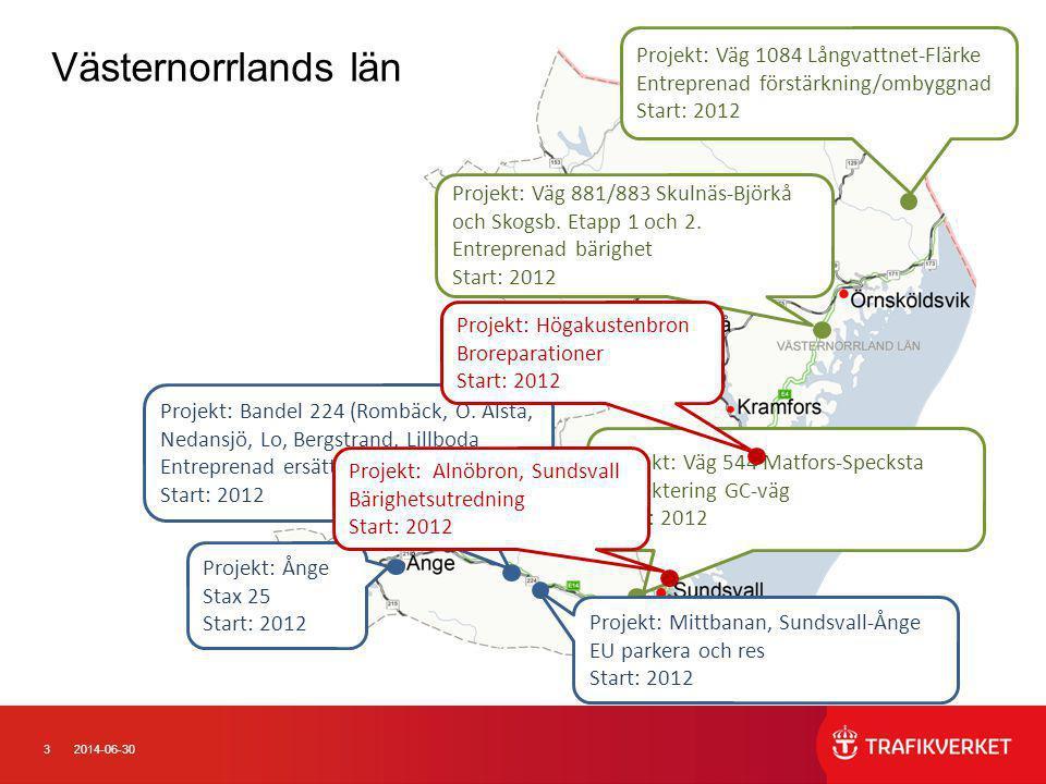 32014-06-30 Västernorrlands län Projekt: Bandel 224 (Rombäck, Ö. Ålsta, Nedansjö, Lo, Bergstrand, Lillboda Entreprenad ersättningsvägar Start: 2012 Pr