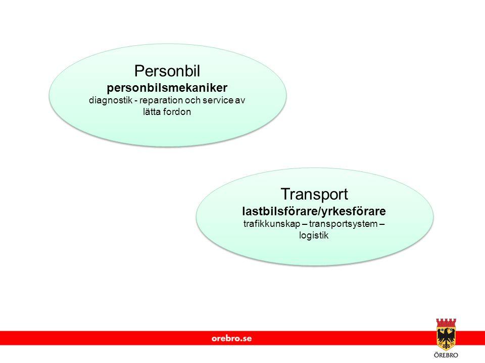 www.orebro.se Personbil personbilsmekaniker diagnostik - reparation och service av lätta fordon Transport lastbilsförare/yrkesförare trafikkunskap – transportsystem – logistik