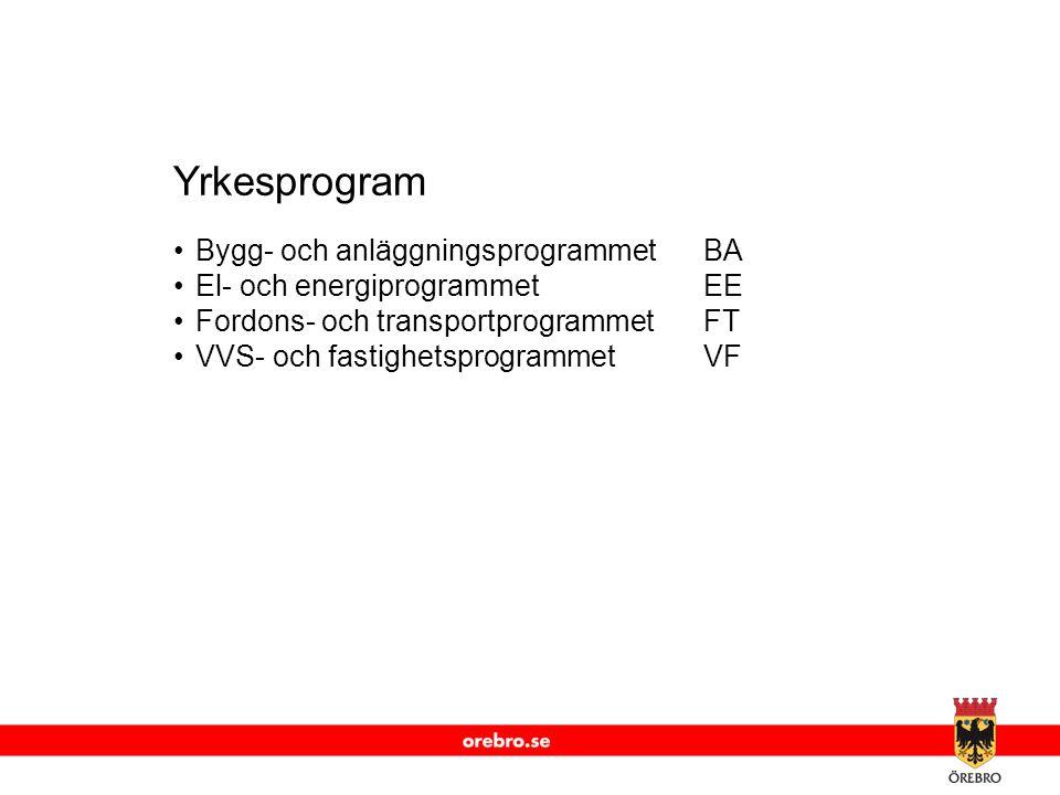 www.orebro.se Yrkesprogram •Bygg- och anläggningsprogrammetBA •El- och energiprogrammetEE •Fordons- och transportprogrammetFT •VVS- och fastighetsprogrammetVF