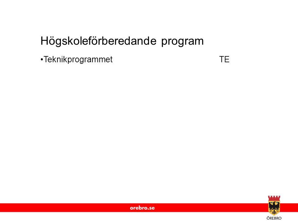 www.orebro.se Högskoleförberedande program •TeknikprogrammetTE