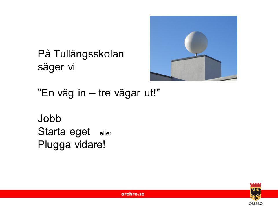 www.orebro.se På Tullängsskolan säger vi En väg in – tre vägar ut! Jobb Starta eget eller Plugga vidare!