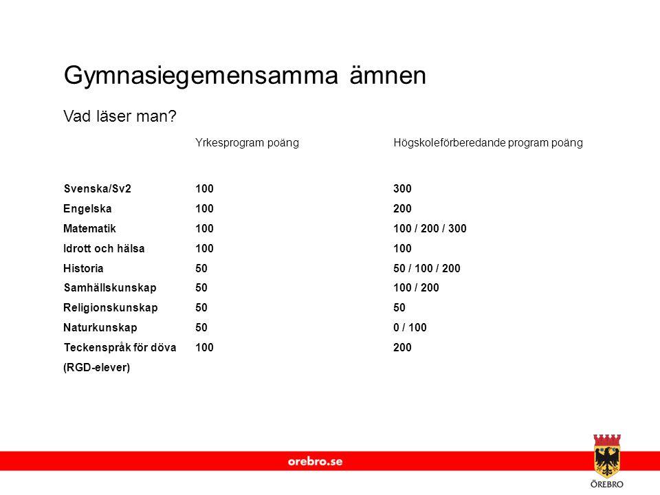 www.orebro.se Gymnasiegemensamma ämnen Vad läser man.