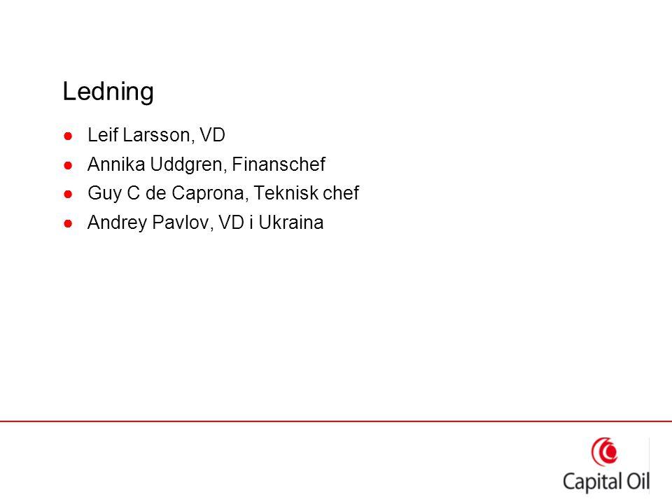 Ledning ●Leif Larsson, VD ●Annika Uddgren, Finanschef ●Guy C de Caprona, Teknisk chef ●Andrey Pavlov, VD i Ukraina