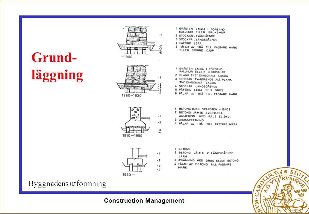 Construction Management Grund- läggning Byggnadens utformning