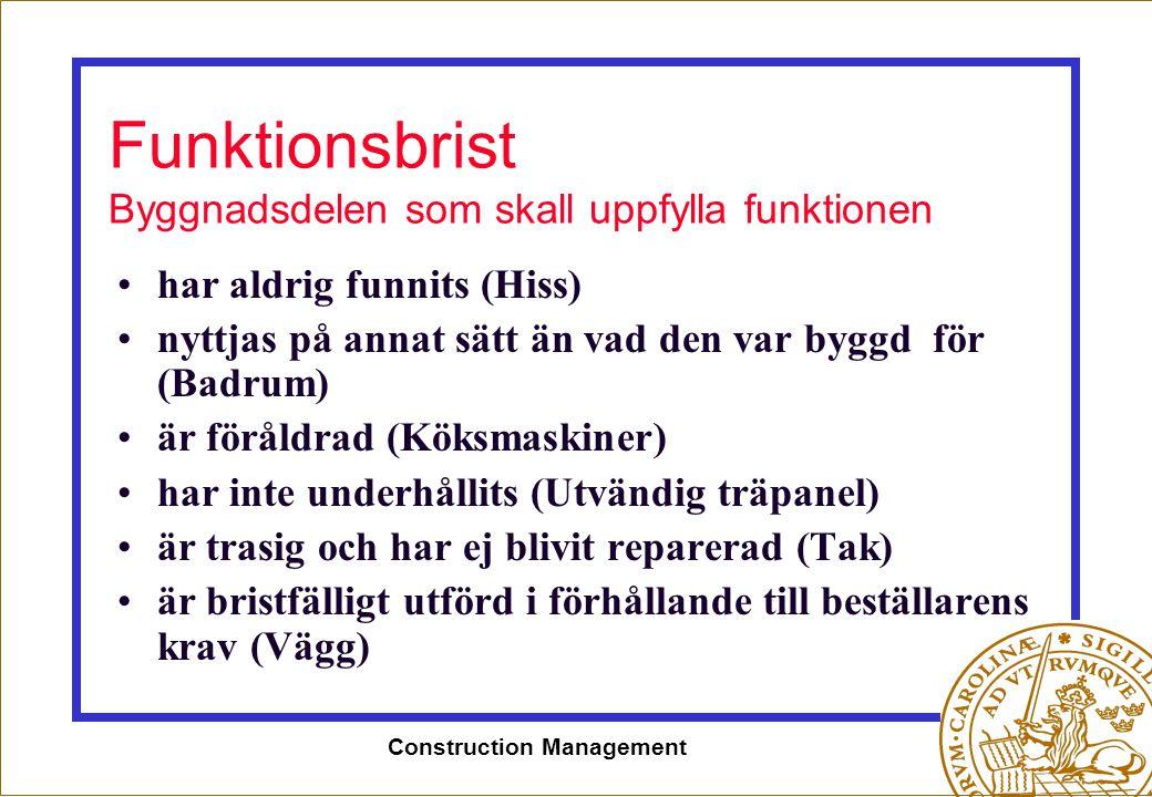 Construction Management Funktionsbrist Byggnadsdelen som skall uppfylla funktionen •har aldrig funnits (Hiss) •nyttjas på annat sätt än vad den var by