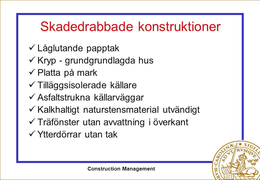Construction Management Skadedrabbade konstruktioner  Låglutande papptak  Kryp - grundgrundlagda hus  Platta på mark  Tilläggsisolerade källare 