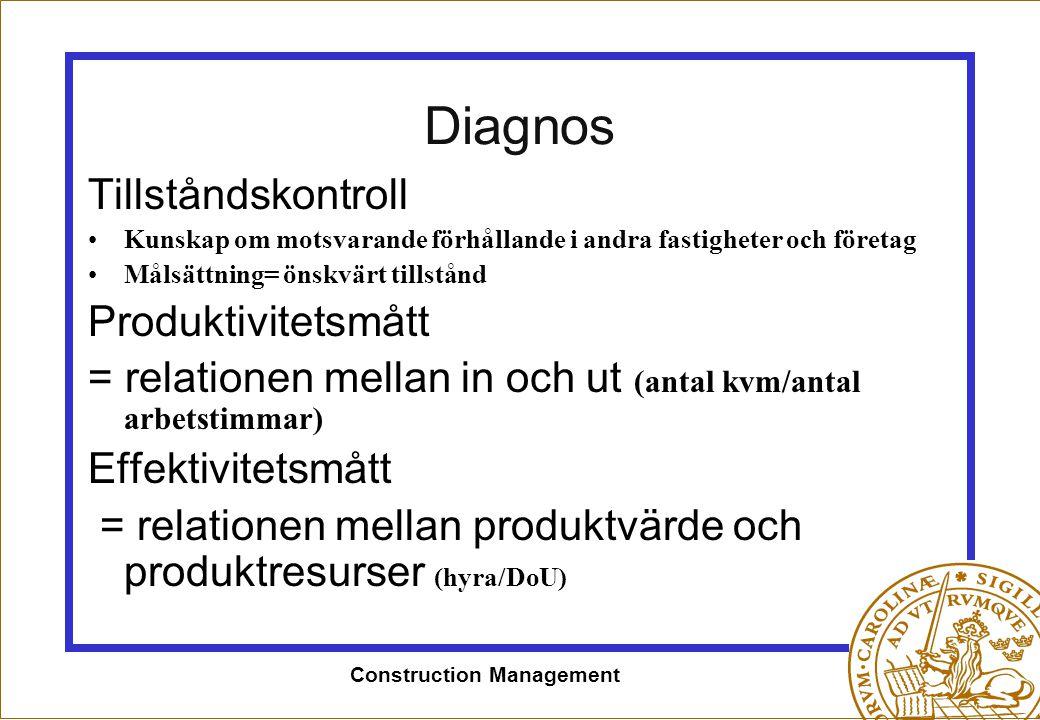 Construction Management Diagnos Tillståndskontroll •Kunskap om motsvarande förhållande i andra fastigheter och företag •Målsättning= önskvärt tillstån