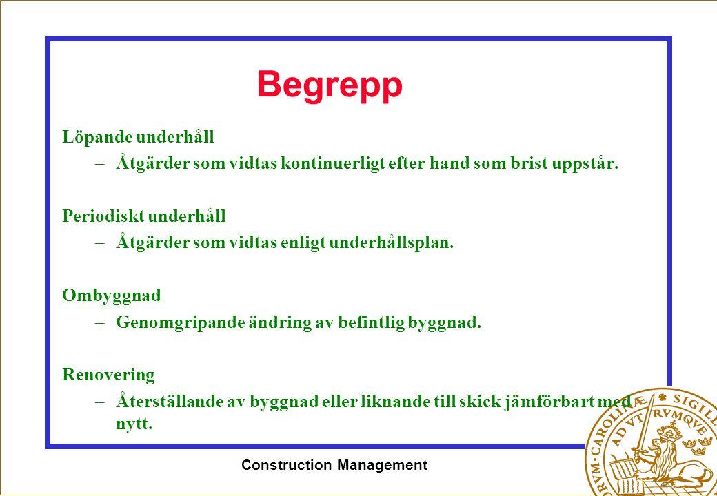 Construction Management Begrepp Löpande underhåll –Åtgärder som vidtas kontinuerligt efter hand som brist uppstår. Periodiskt underhåll –Åtgärder som