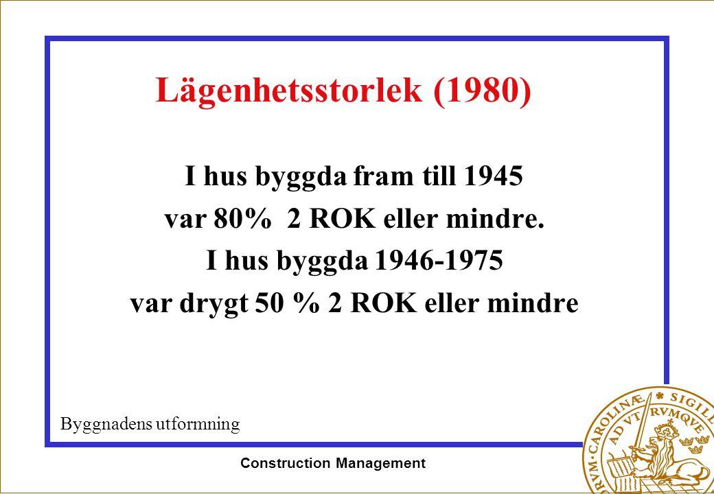 Construction Management Lägenhetsstorlek (1980) I hus byggda fram till 1945 var 80% 2 ROK eller mindre. I hus byggda 1946-1975 var drygt 50 % 2 ROK el