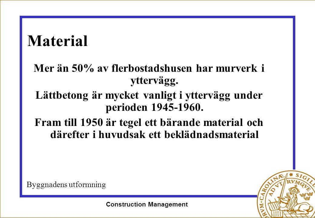 Construction Management Material Mer än 50% av flerbostadshusen har murverk i yttervägg. Lättbetong är mycket vanligt i yttervägg under perioden 1945-