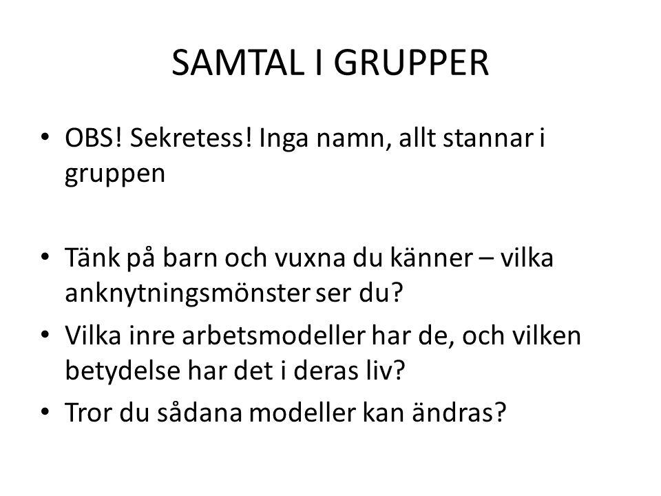 SAMTAL I GRUPPER • OBS.Sekretess.