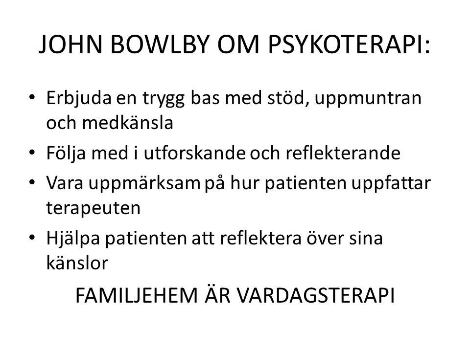 JOHN BOWLBY OM PSYKOTERAPI: • Erbjuda en trygg bas med stöd, uppmuntran och medkänsla • Följa med i utforskande och reflekterande • Vara uppmärksam på hur patienten uppfattar terapeuten • Hjälpa patienten att reflektera över sina känslor FAMILJEHEM ÄR VARDAGSTERAPI