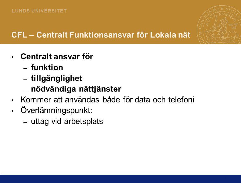 11 L U N D S U N I V E R S I T E T CFL – Centralt Funktionsansvar för Lokala nät • Centralt ansvar för – funktion – tillgänglighet – nödvändiga nättjä