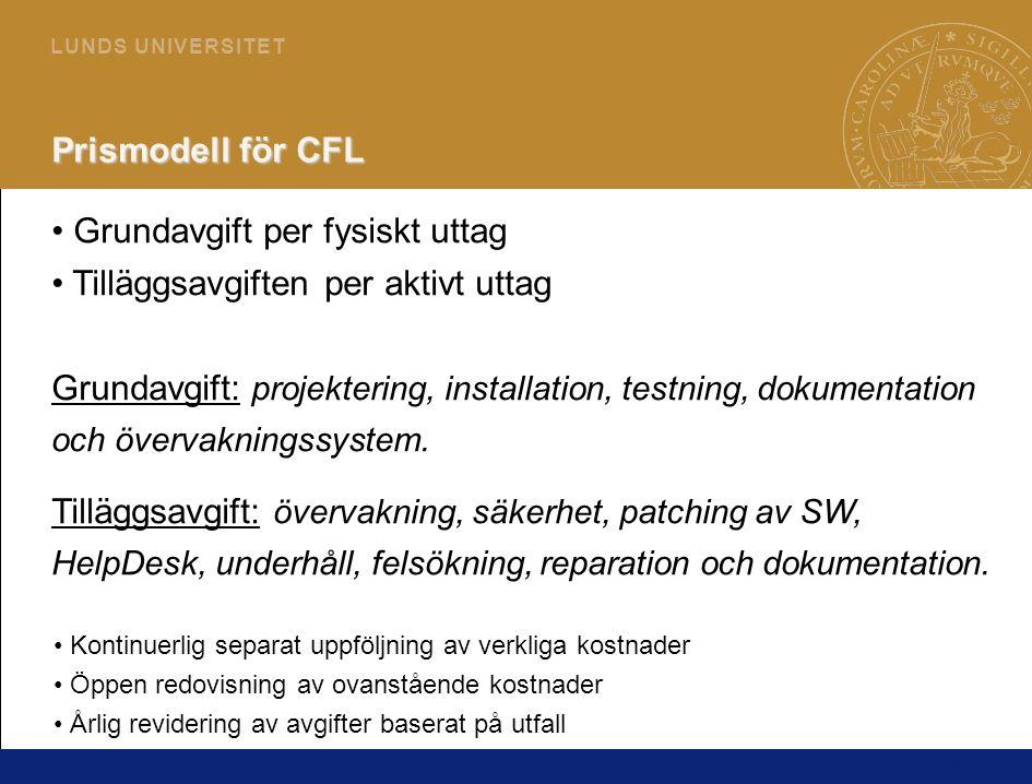 16 L U N D S U N I V E R S I T E T Prismodell för CFL • Grundavgift per fysiskt uttag • Tilläggsavgiften per aktivt uttag Grundavgift: projektering, installation, testning, dokumentation och övervakningssystem.