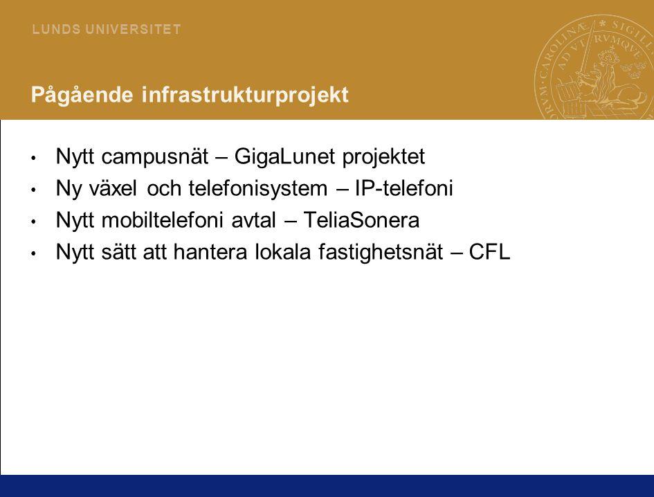 2 L U N D S U N I V E R S I T E T Pågående infrastrukturprojekt • Nytt campusnät – GigaLunet projektet • Ny växel och telefonisystem – IP-telefoni • N