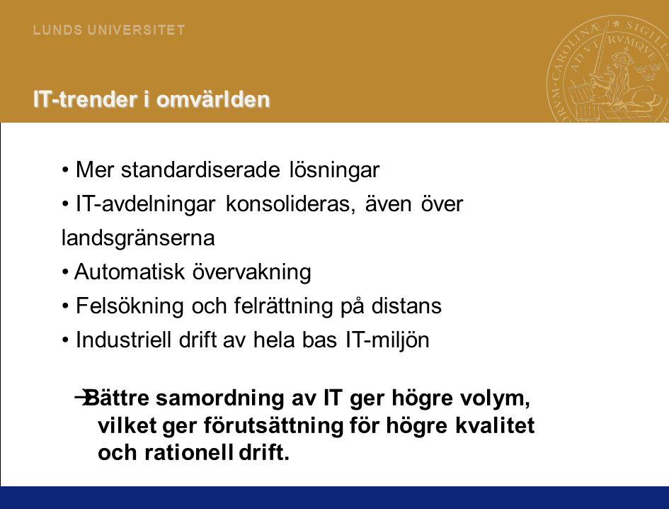 3 L U N D S U N I V E R S I T E T IT-trender i omvärlden • Mer standardiserade lösningar • IT-avdelningar konsolideras, även över landsgränserna • Aut