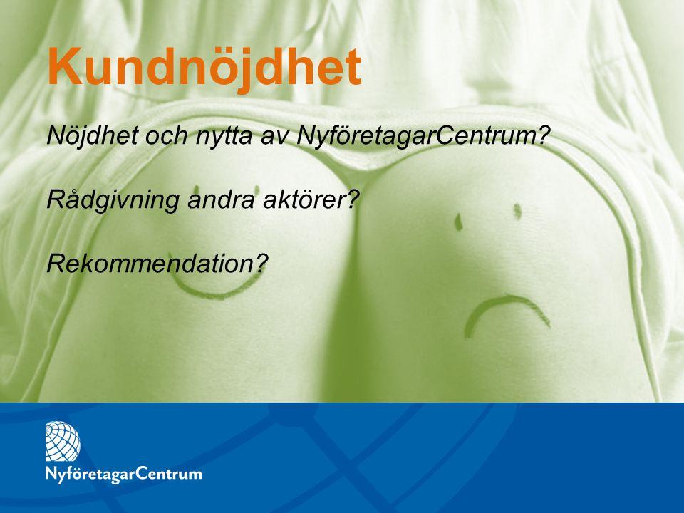 Nöjdhet och nytta av NyföretagarCentrum? Rådgivning andra aktörer? Rekommendation? Kundnöjdhet