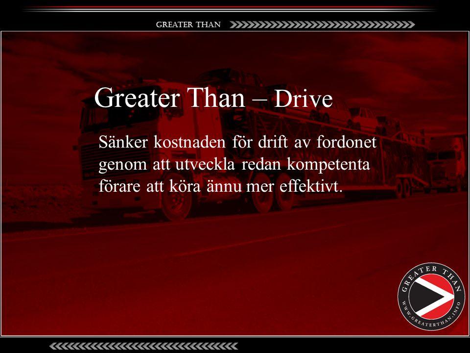 Sänker kostnaden för drift av fordonet genom att utveckla redan kompetenta förare att köra ännu mer effektivt. Greater Than – Drive