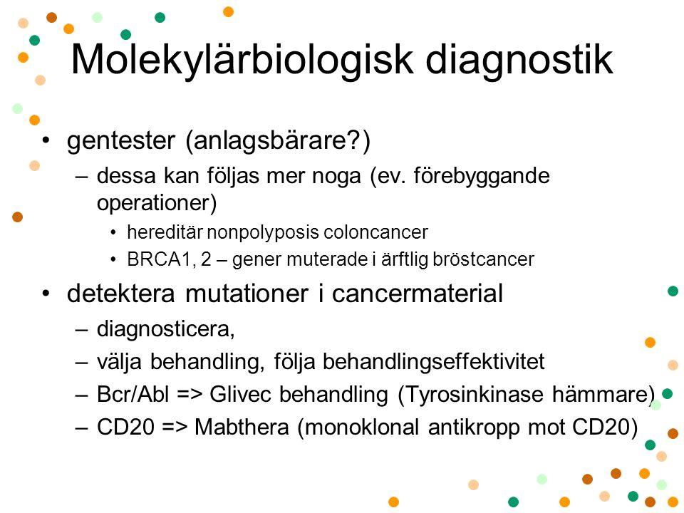 Molekylärbiologisk diagnostik •gentester (anlagsbärare?) –dessa kan följas mer noga (ev. förebyggande operationer) •hereditär nonpolyposis coloncancer