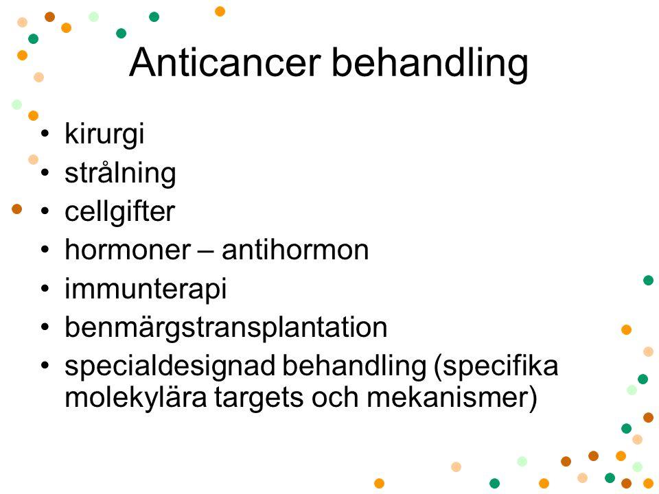 Anticancer behandling •kirurgi •strålning •cellgifter •hormoner – antihormon •immunterapi •benmärgstransplantation •specialdesignad behandling (specif