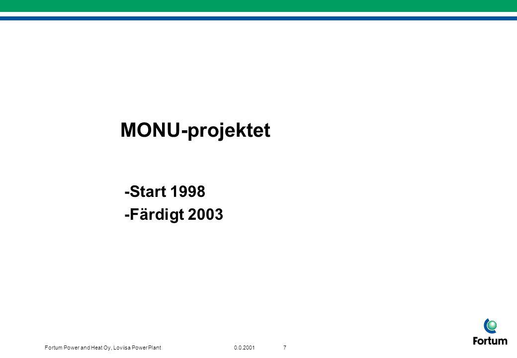 Fortum Power and Heat Oy, Loviisa Power Plant70.0.2001 MONU-projektet -Start 1998 -Färdigt 2003