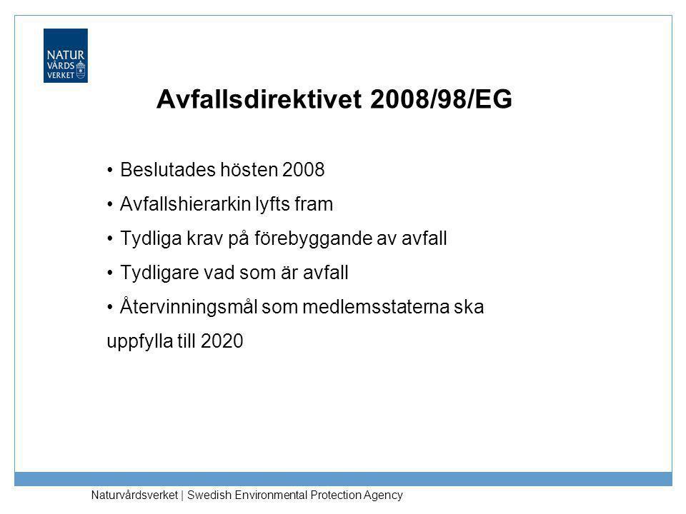 Naturvårdsverket | Swedish Environmental Protection Agency Avfallsdirektivet 2008/98/EG Avfallshierarkin ska gälla som prioriteringsordning för avfallspolitiken och lagstiftningen (art 4) Förebyggande Förberedande för återanvändning Materialåtervinning Annan återvinning, t.ex.