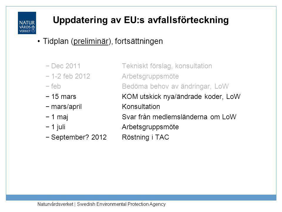 Naturvårdsverket | Swedish Environmental Protection Agency Uppdatering av EU:s avfallsförteckning •Tidplan (preliminär), fortsättningen −Dec 2011 Tekn