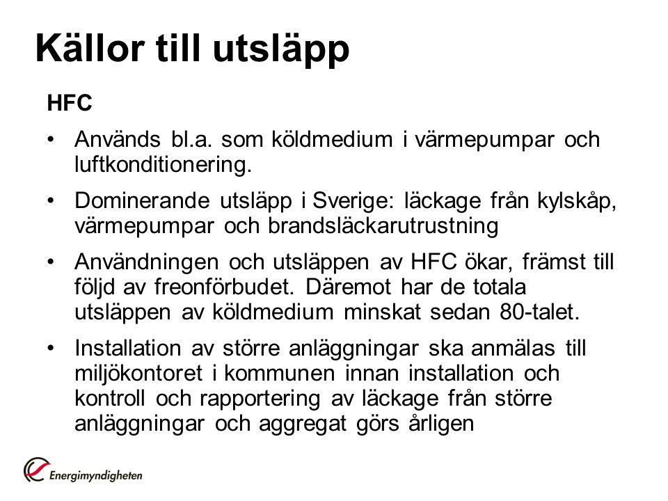 HFC • Används bl.a. som köldmedium i värmepumpar och luftkonditionering. • Dominerande utsläpp i Sverige: läckage från kylskåp, värmepumpar och brands