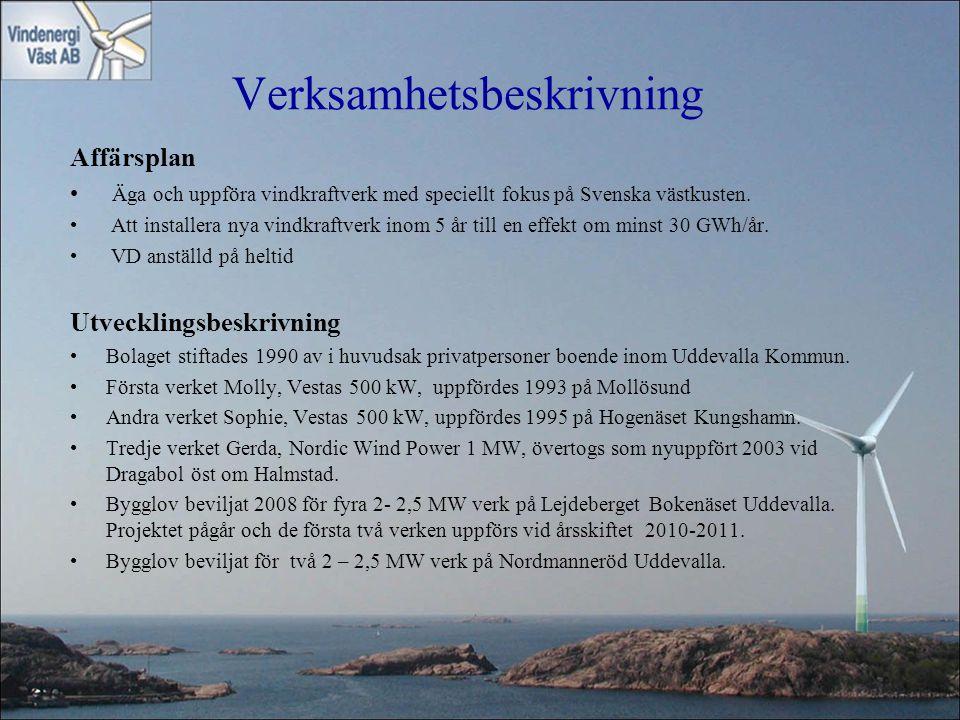 Verksamhetsbeskrivning Affärsplan • Äga och uppföra vindkraftverk med speciellt fokus på Svenska västkusten. • Att installera nya vindkraftverk inom 5