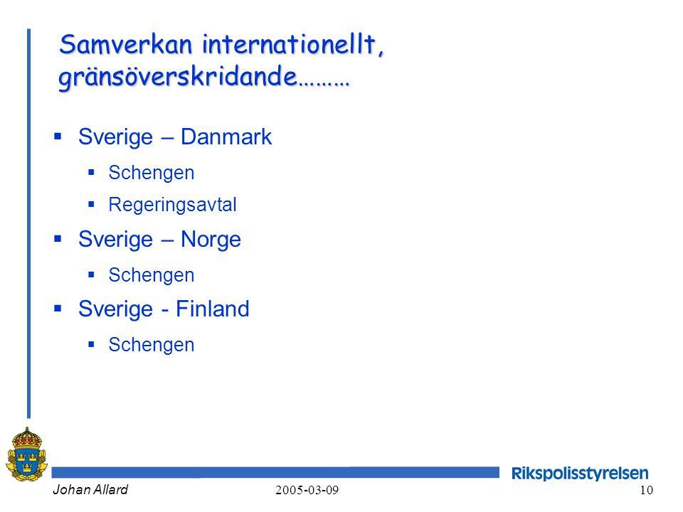 Johan Allard 2005-03-09 10 Samverkan internationellt, gränsöverskridande………  Sverige – Danmark  Schengen  Regeringsavtal  Sverige – Norge  Scheng