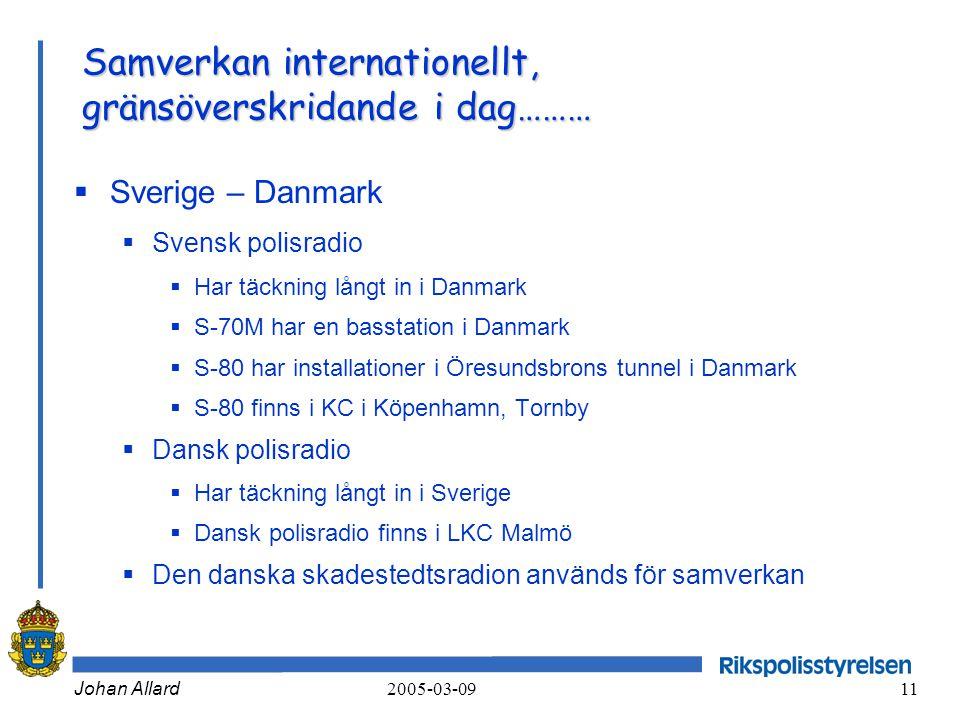 Johan Allard 2005-03-09 11 Samverkan internationellt, gränsöverskridande i dag………  Sverige – Danmark  Svensk polisradio  Har täckning långt in i Da
