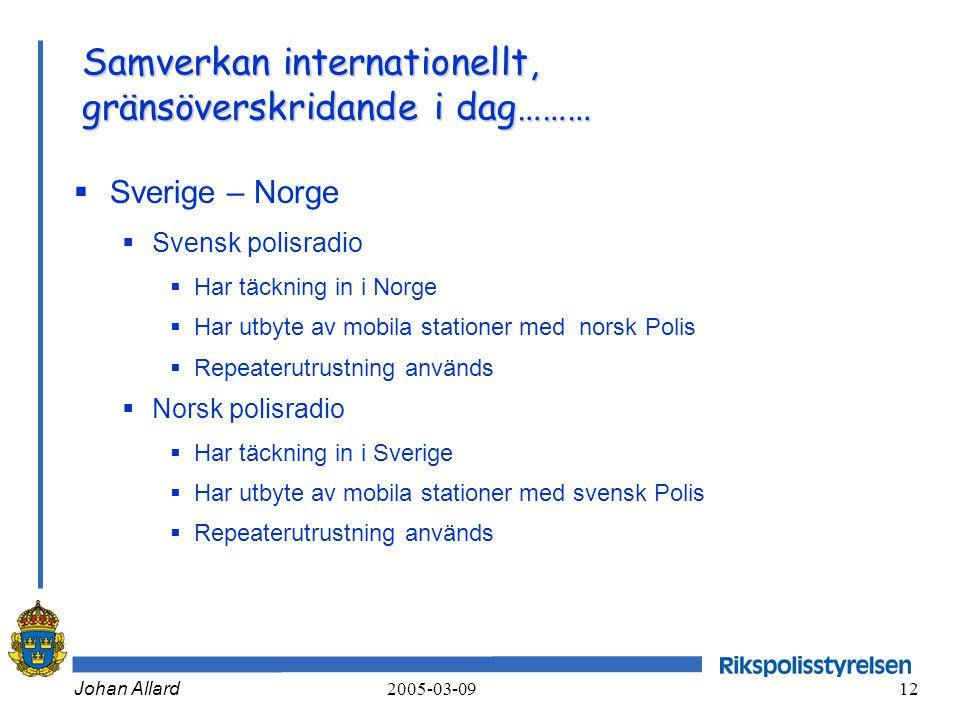 Johan Allard 2005-03-09 12 Samverkan internationellt, gränsöverskridande i dag………  Sverige – Norge  Svensk polisradio  Har täckning in i Norge  Ha