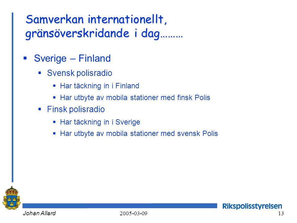 Johan Allard 2005-03-09 13 Samverkan internationellt, gränsöverskridande i dag………  Sverige – Finland  Svensk polisradio  Har täckning in i Finland