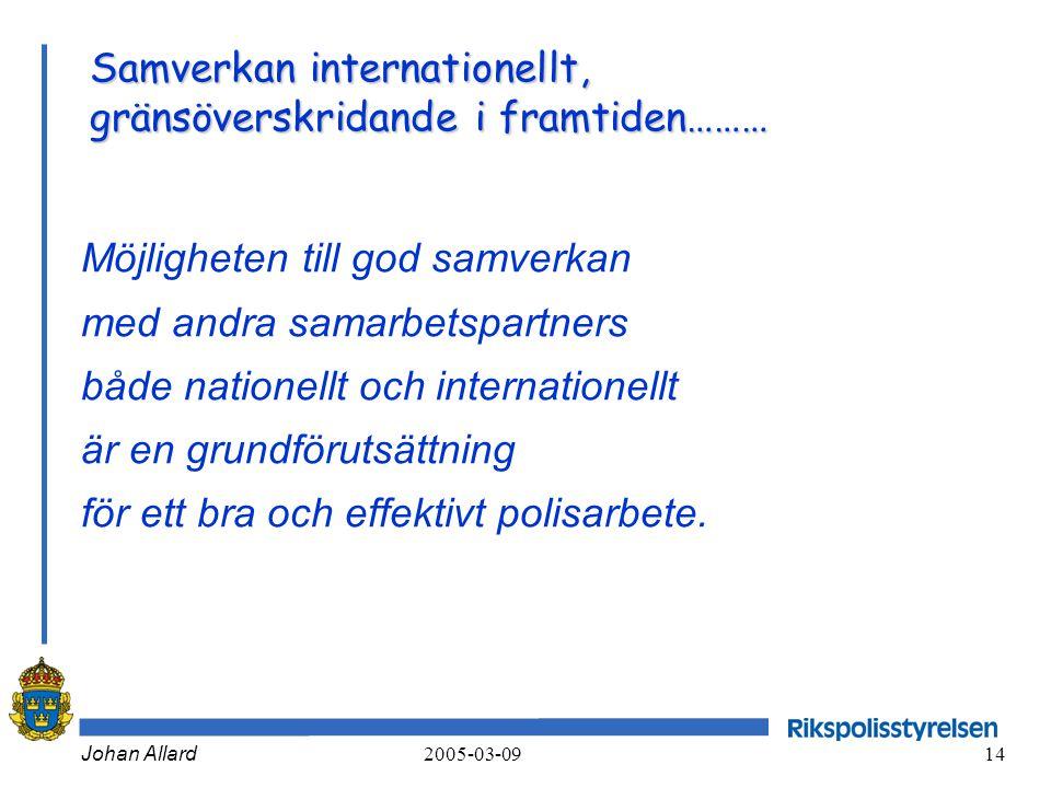 Johan Allard 2005-03-09 14 Samverkan internationellt, gränsöverskridande i framtiden……… Möjligheten till god samverkan med andra samarbetspartners båd