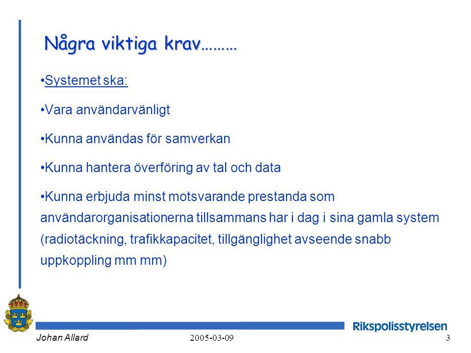 Johan Allard 2005-03-09 3 Några viktiga krav……… •Systemet ska: •Vara användarvänligt •Kunna användas för samverkan •Kunna hantera överföring av tal oc
