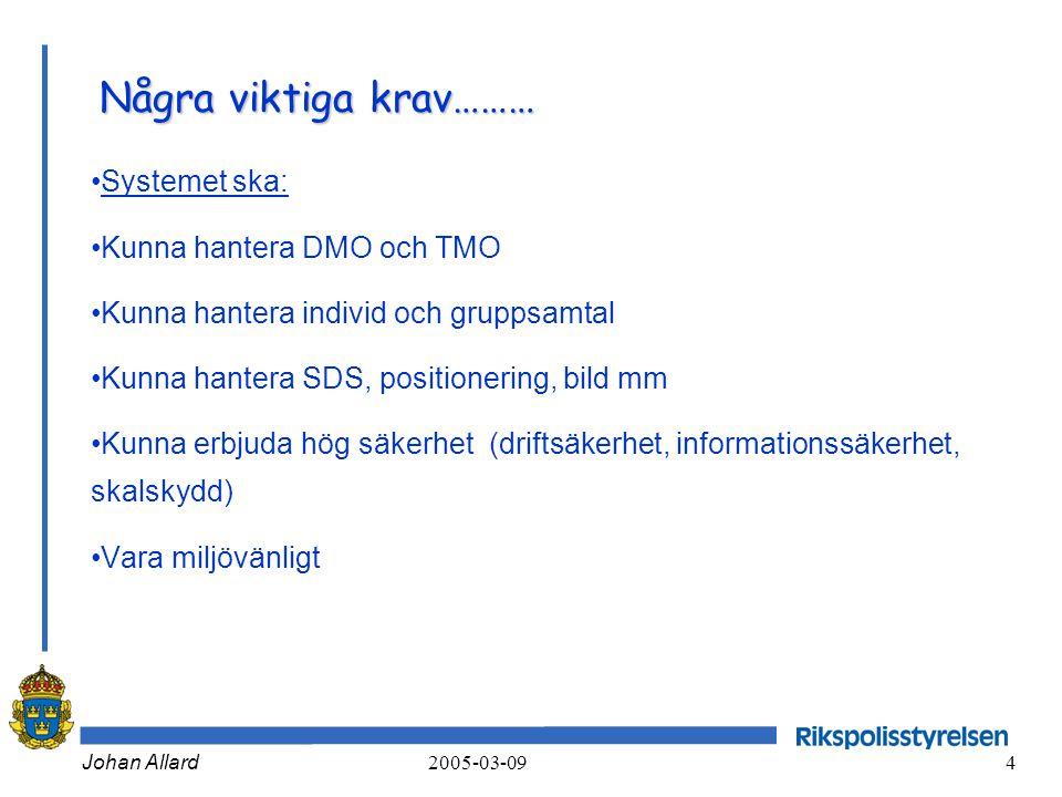 Johan Allard 2005-03-09 4 Några viktiga krav……… •Systemet ska: •Kunna hantera DMO och TMO •Kunna hantera individ och gruppsamtal •Kunna hantera SDS, p