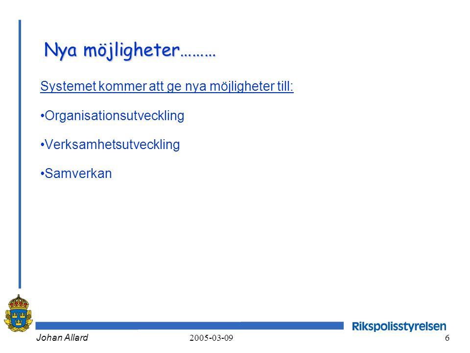 Johan Allard 2005-03-09 6 Nya möjligheter……… Systemet kommer att ge nya möjligheter till: •Organisationsutveckling •Verksamhetsutveckling •Samverkan