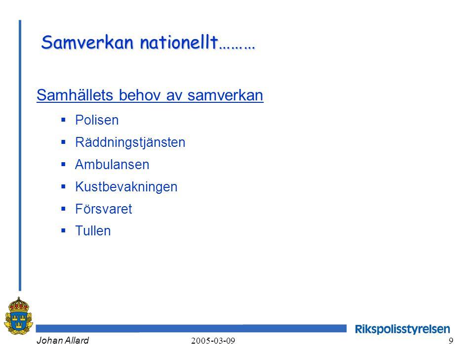Johan Allard 2005-03-09 9 Samverkan nationellt……… Samhällets behov av samverkan  Polisen  Räddningstjänsten  Ambulansen  Kustbevakningen  Försvar