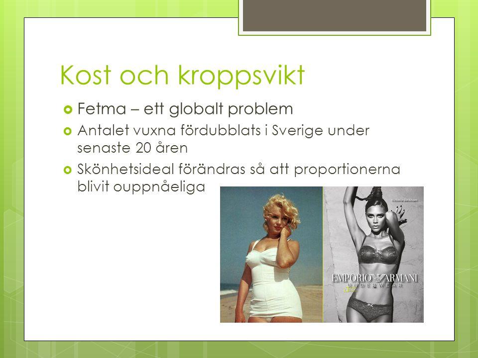 Kost och kroppsvikt  Fetma – ett globalt problem  Antalet vuxna fördubblats i Sverige under senaste 20 åren  Skönhetsideal förändras så att proport
