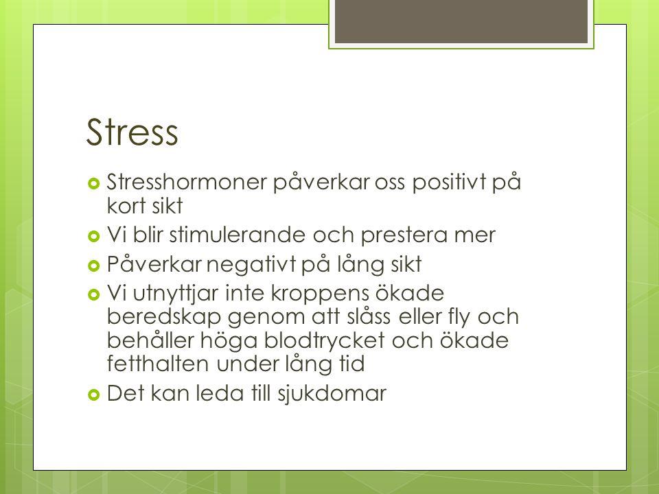 Stress  Stresshormoner påverkar oss positivt på kort sikt  Vi blir stimulerande och prestera mer  Påverkar negativt på lång sikt  Vi utnyttjar int