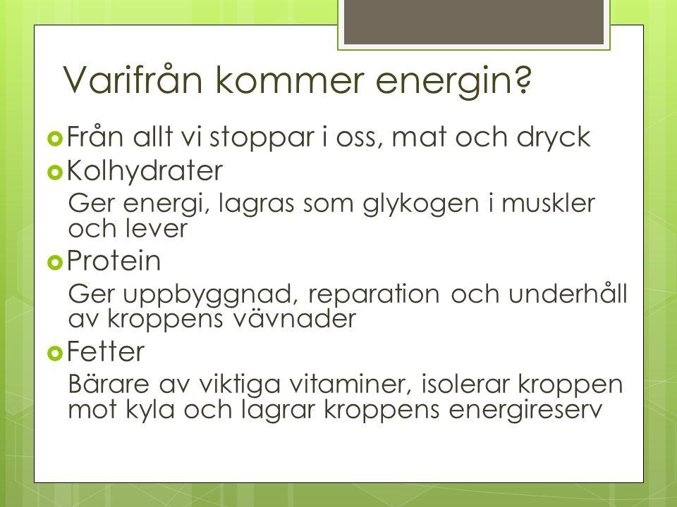 Varifrån kommer energin?  Från allt vi stoppar i oss, mat och dryck  Kolhydrater Ger energi, lagras som glykogen i muskler och lever  Protein Ger u
