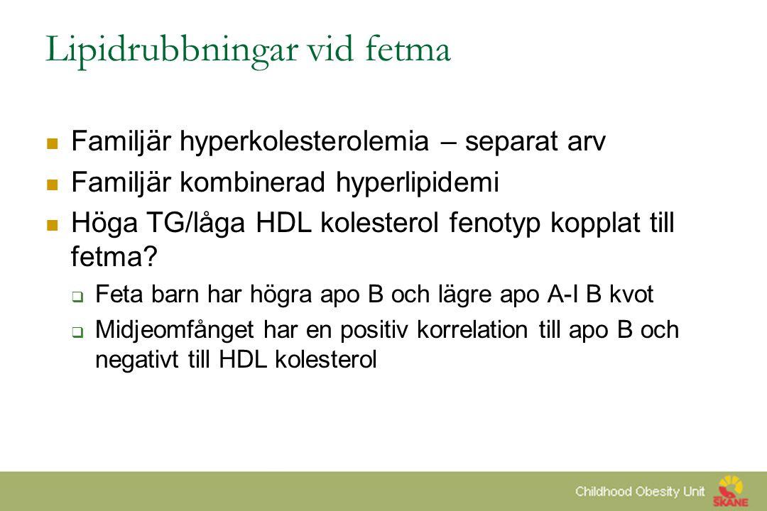 Lipidrubbningar vid fetma  Familjär hyperkolesterolemia – separat arv  Familjär kombinerad hyperlipidemi  Höga TG/låga HDL kolesterol fenotyp koppl