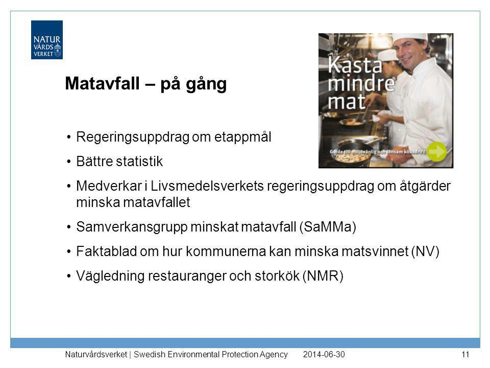 Matavfall – på gång •Regeringsuppdrag om etappmål •Bättre statistik •Medverkar i Livsmedelsverkets regeringsuppdrag om åtgärder minska matavfallet •Sa