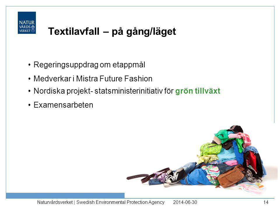 Textilavfall – på gång/läget •Regeringsuppdrag om etappmål •Medverkar i Mistra Future Fashion •Nordiska projekt- statsministerinitiativ för grön tillv