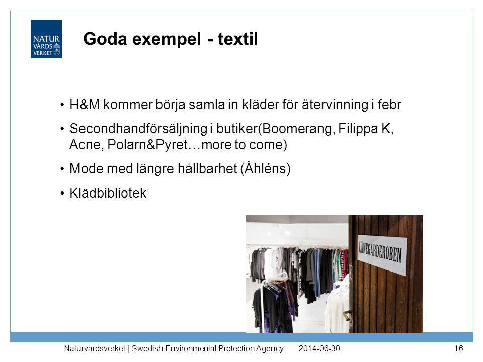 Goda exempel - textil •H&M kommer börja samla in kläder för återvinning i febr •Secondhandförsäljning i butiker(Boomerang, Filippa K, Acne, Polarn&Pyr