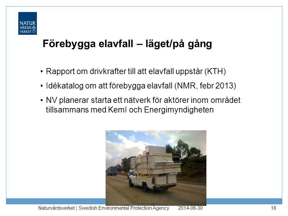 Förebygga elavfall – läget/på gång •Rapport om drivkrafter till att elavfall uppstår (KTH) •Idékatalog om att förebygga elavfall (NMR, febr 2013) •NV