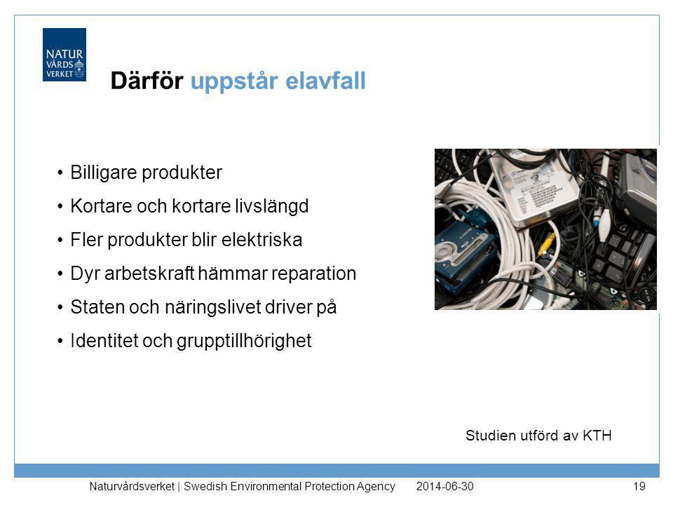 2014-06-30 Naturvårdsverket | Swedish Environmental Protection Agency 19 Därför uppstår elavfall •Billigare produkter •Kortare och kortare livslängd •